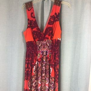 Bisou Bisou Orange print maxi dress beaded 16